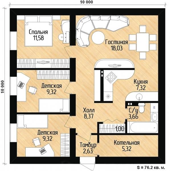 Одноэтажные дома 10 на 12 фото домов 118