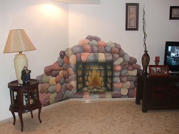 Рисованный камин на стене