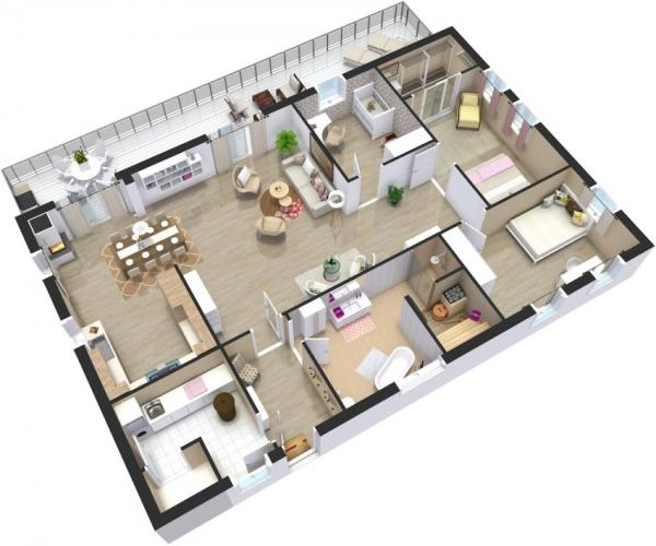 Проекты одноэтажных домов с тремя спальнями Правила
