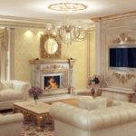 Камин и белая мебель