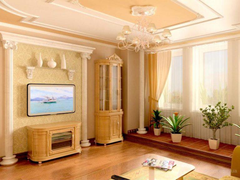 Декоративные колонны из полиуретана в интерьере с диваном фото