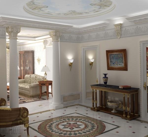 Классический стиль интерьера включает в себя колонны в комнате