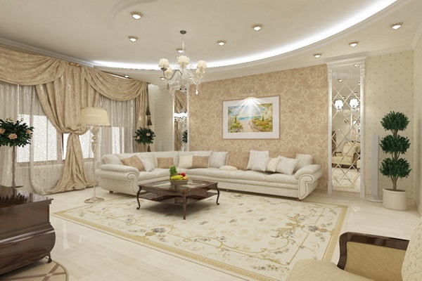 Оформлять гостиную нужно зеркалами крупного размера