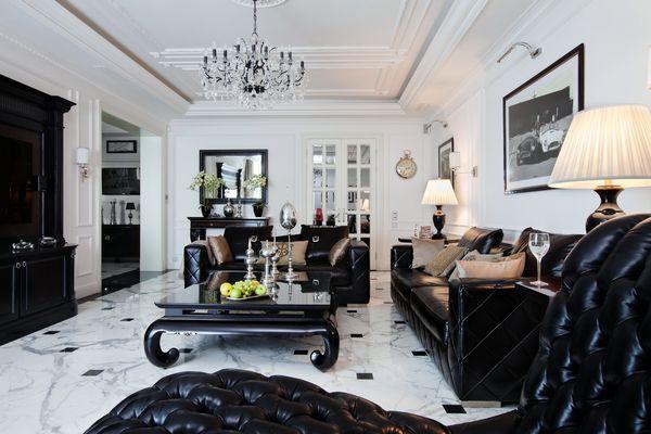 Черно-белое оформление гостиной