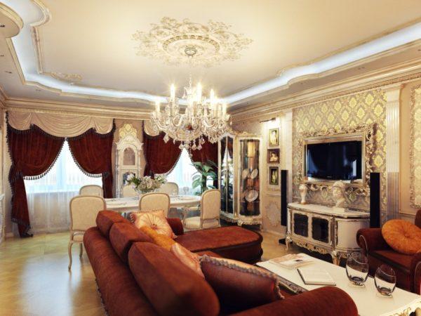 Светлые стены в гостиной в классическом стиле