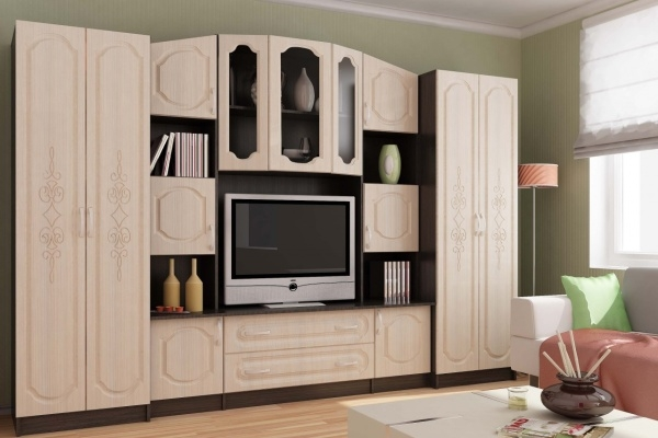 Стенки из дерева и других материалов в гостиную: заглянем внутрь шикарных фасадов