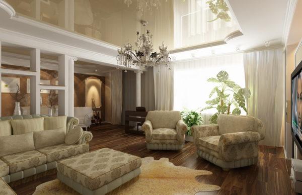 колонны также отлично подойдут для гостиной