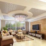 Оформление потолка в гостинной