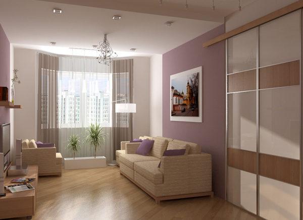 Диагональный узор на полу увеличивает комнату