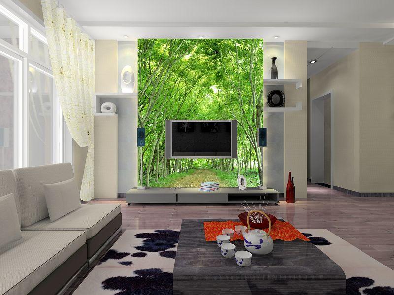 Телевизор и фотообои в интерьере гостиной фото