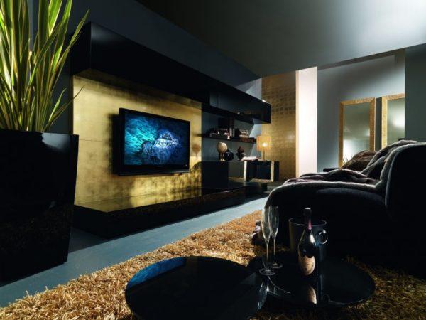 Гостиная с телевизором и деревянной панелью