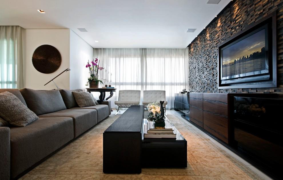 Дизайн стен в гостинной