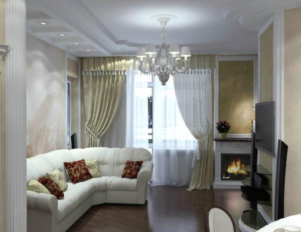 полупрозрачные и легкие занавески в небольшой гостиной