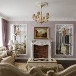 Зеркальный декор в классической гостиной