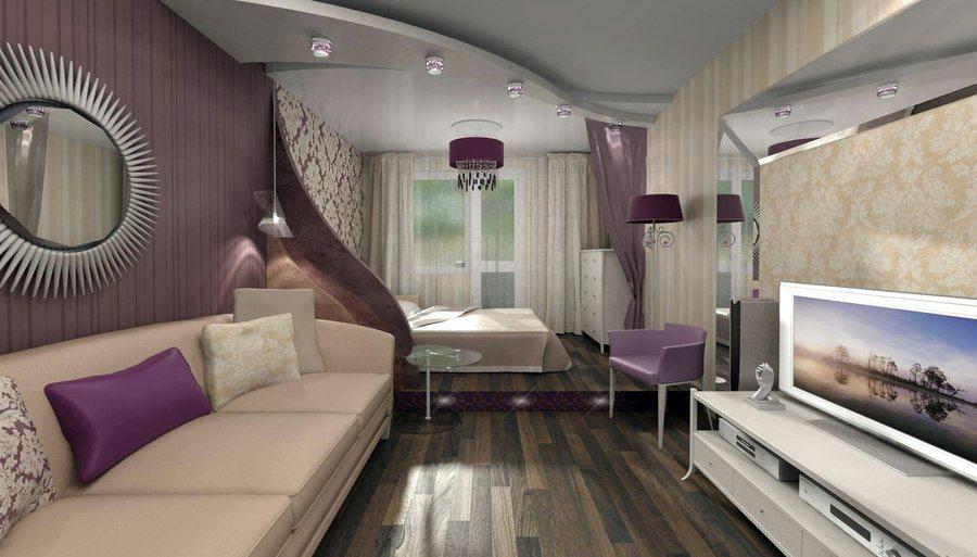 Фото дизайна гостиной совмещенной со спальней