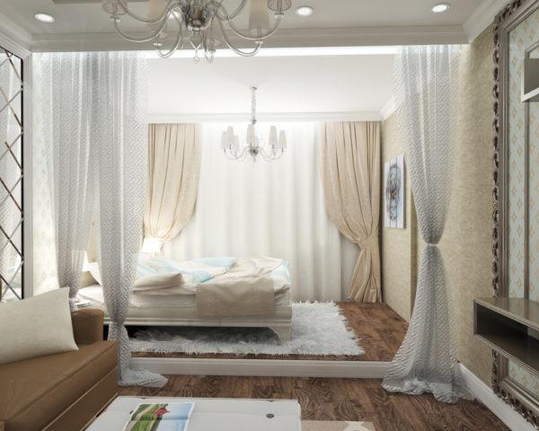 Коричневый и белый цвет в дизайне гостиной