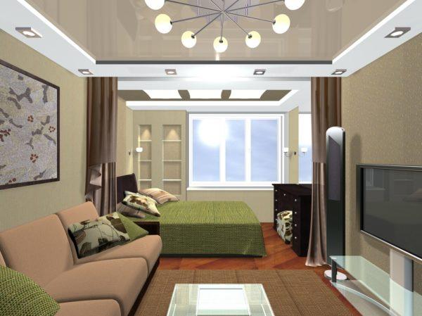 Небольшая гостиная-спальня со шторами