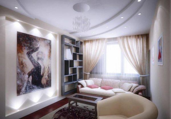 Точечное освещение гостиной-спальни