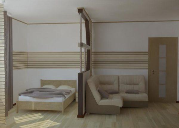 Молочно-бежевая гостиная спальная со сложной перегородкой