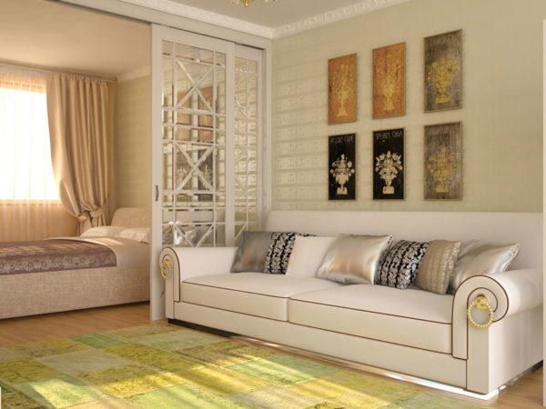 Молочно-белый дизайн гостиной со стеклянной перегородкой