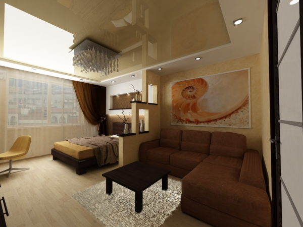 Кофейная гостиная с натяжным потолком и угловым диваном