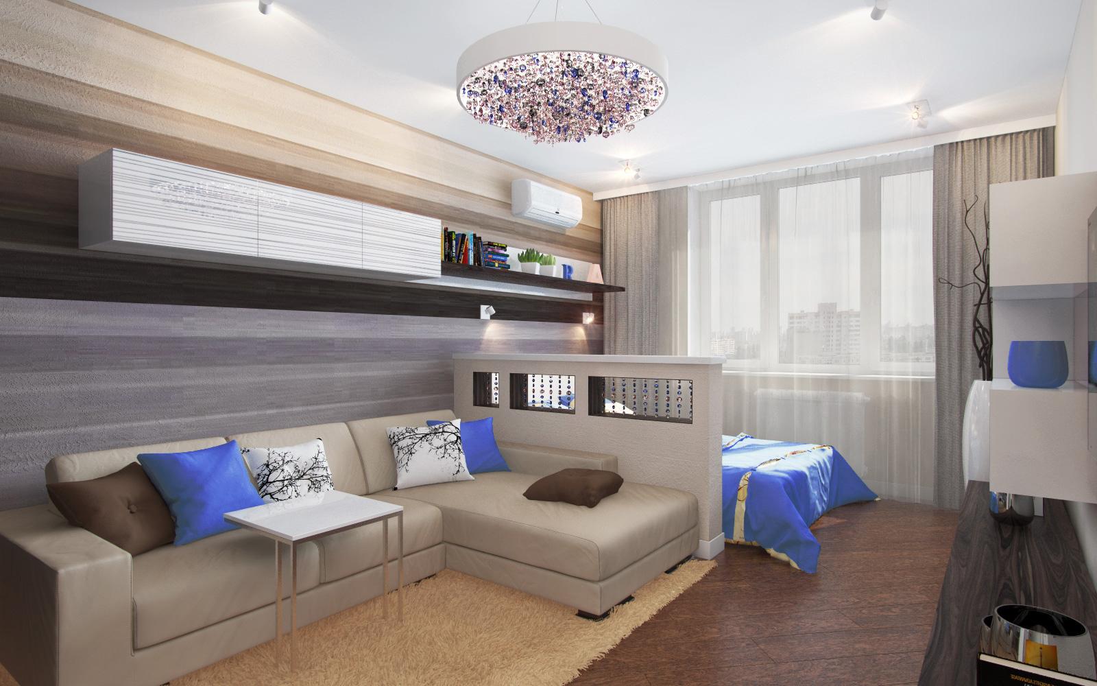 Зонирование гостиная спальня дизайн