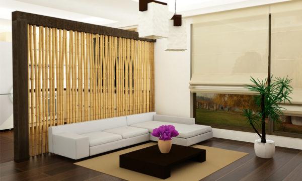 Перегородка из бамбука в спальне-гостиной