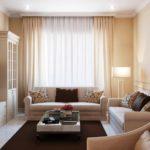 Сочетание бежевых и коричневых оттенков в гостиной
