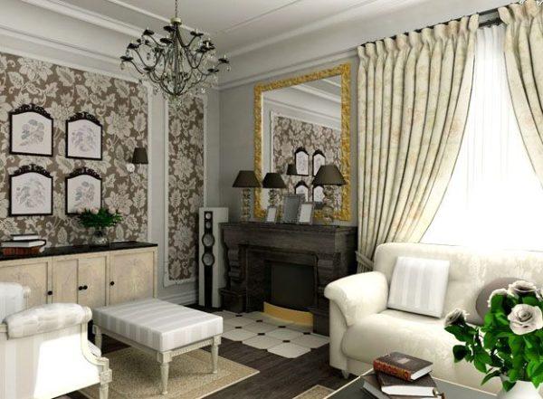 белоснежная мебель и черные обрамления резных рамок картин