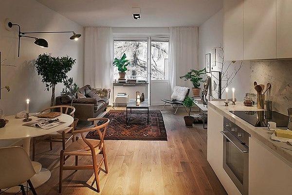 кухня отделена в квартире-студии