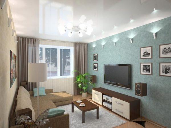 В небольших гостиных лучше использовать светлые шторы