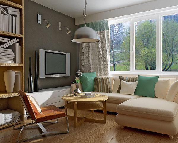 Компактный угловой диванчик хорошо вписывается в небольшую гостиную