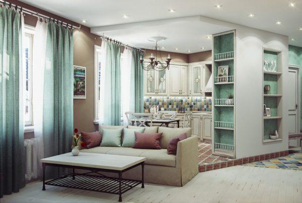 теплый оттенок зеленого в дизайнерском решении кухни гостиной