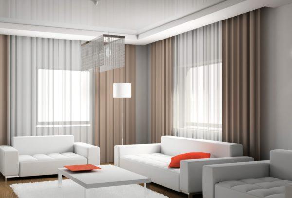 прямые шторы в дизайне гостиной