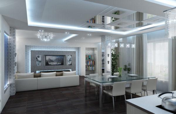светлый потолок в гостиной совмещенной с кухней