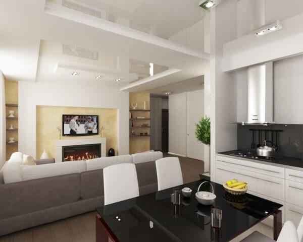 зонирование кухни-гостиной при помощи натяжного потолка