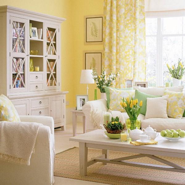 желтый цвет в декоре гостиной