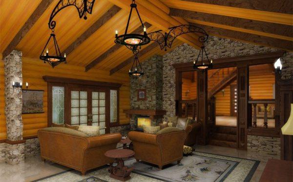 подшивной потолок в гостиной комнате