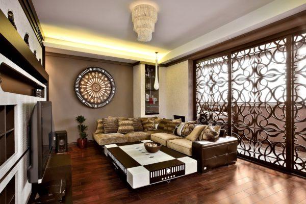 большой угловой диван в современном интерьере