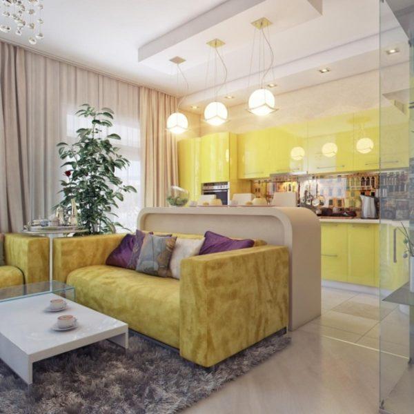 желтый в интерьере кухни гостиной