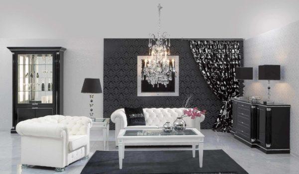 белая мебель с темными акцентами в гостиной
