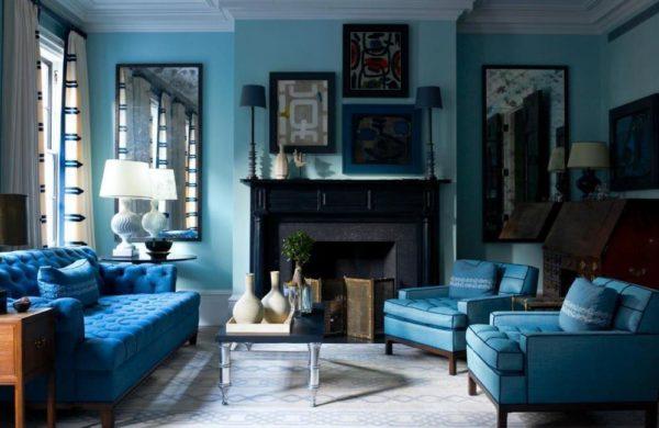 синий в итерьере гостиной