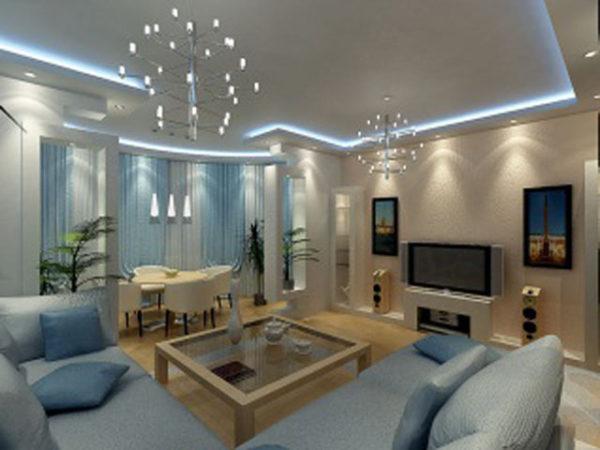 светодиодное освещение потолка гостиной