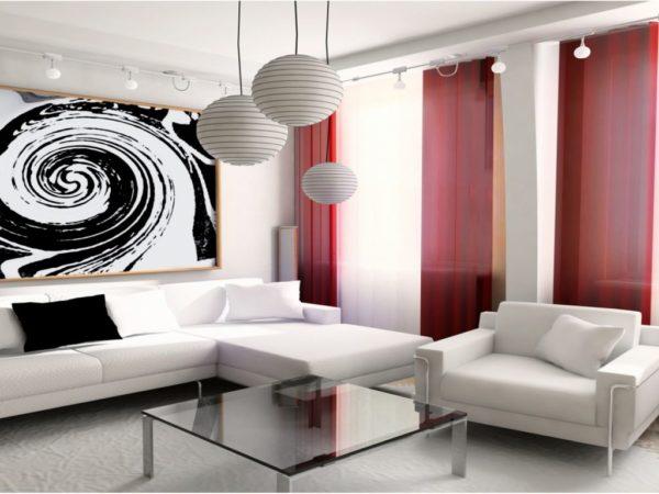 хай-тек в гостиной со светлой мебелью
