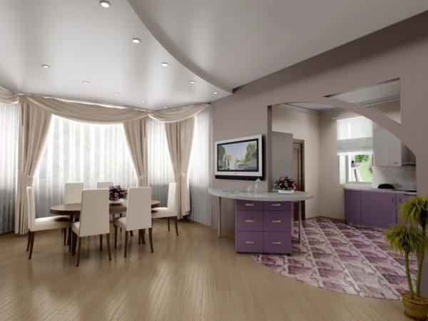 потолок из гипсокартона для кухни-гостиной