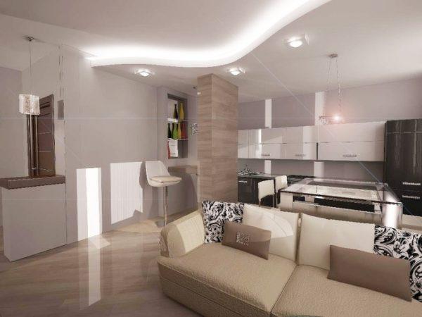 уютная кухня-гостиная