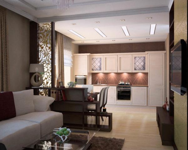 насыщенный коричневый в дизайне кухни гостиной