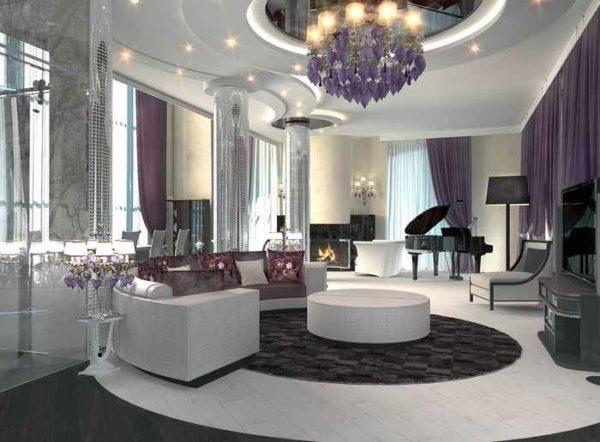 гостиная с модульными мебельными гарнитурами