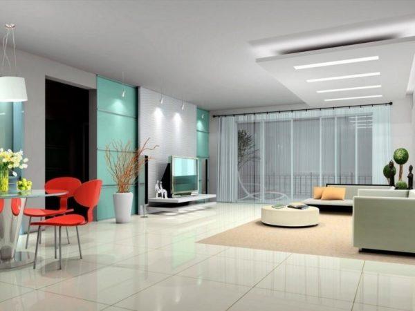 сочетание ярких акцентов и стиля хай-тек в дизайне гостиной