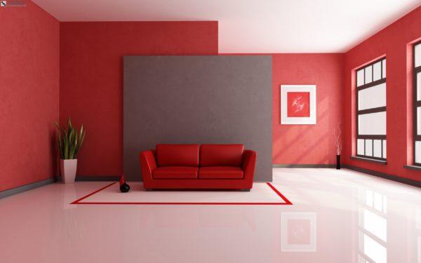 красные цвет стен в интерьере гостиной в стиле модерн